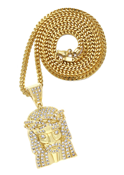 Mens Gold Plated Franco Chain & Jesus Piece Chain | Appx. 15.2 Grams