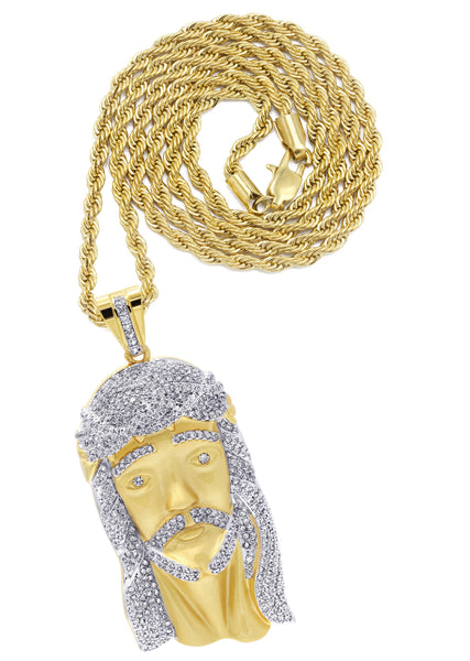Mens Gold Plated Rope Chain & Jesus Piece Chain | Appx. 42.4 Grams