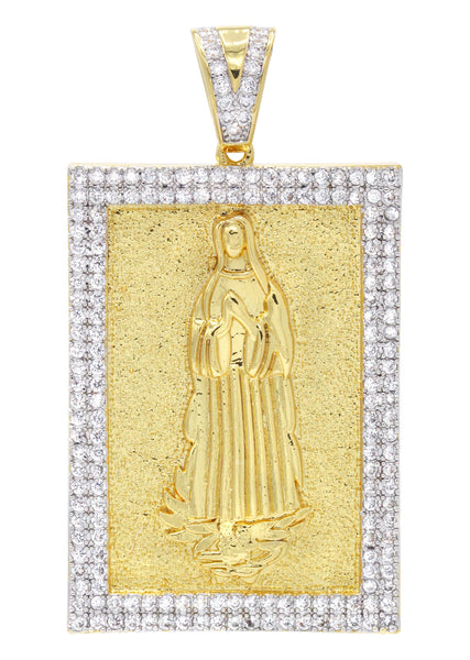 Mens Gold Plated Virgin Mary Pendant | 25.8 Grams