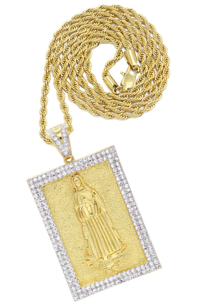 Mens Gold Plated Rope Chain & Virgin Mary Pendant | Appx. 33.8 Grams