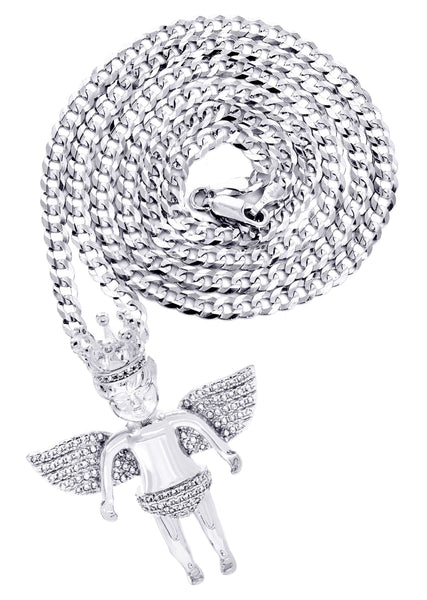 White Gold Plated Cuban Link Chain & Angel Pendant | Appx. 16.3 Grams