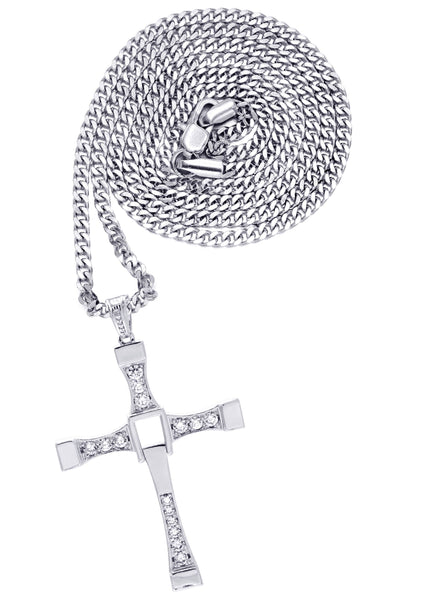 White Gold Plated Cuban Link Chain & Cross Pendant | Appx. 26.7 Grams