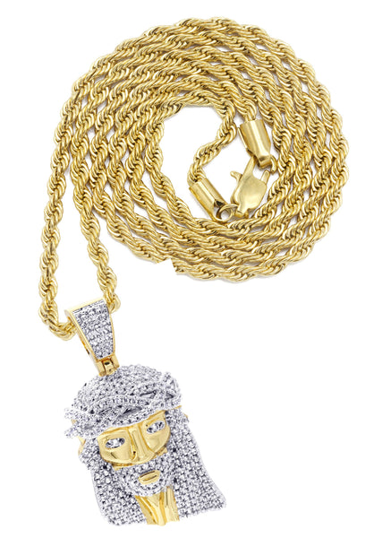 Mens Gold Plated Rope Chain & Jesus Piece Chain | Appx. 21.8 Grams