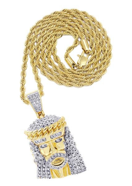 Mens Gold Plated Rope Chain & Jesus Piece Chain | Appx. 22.7 Grams