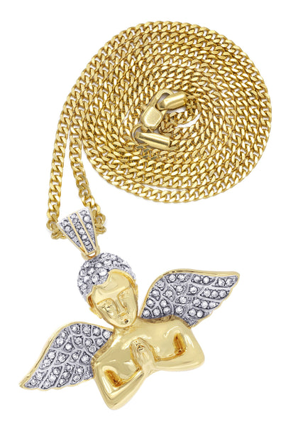 Mens Gold Plated Cuban Link Chain & Angel Pendant | Appx. 19.4 Grams