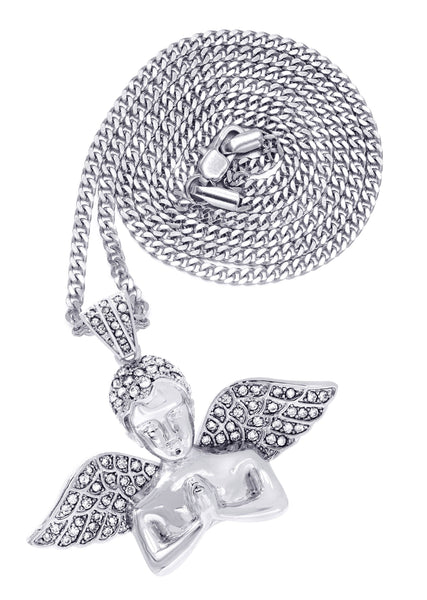 White Gold Plated Cuban Link Chain & Angel Pendant | Appx. 19.4 Grams