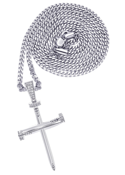 White Gold Plated Cuban Link Chain & Cross Pendant | Appx. 14.5 Grams