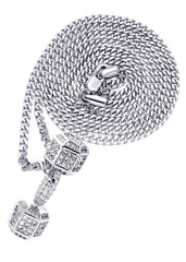White Gold Plated Cuban Link Chain & Dumbbell Pendant | Appx. 15.3 Grams