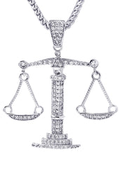 White Gold Plated Cuban Link Chain & Scale of Justice Pendant | Appx. 10.2 Grams