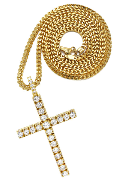 Mens Gold Plated Franco Chain & Cross Pendant | Appx. 30.5 Grams