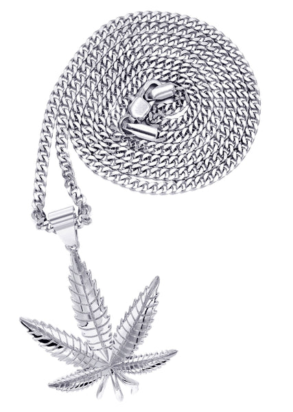 White Gold Plated Cuban Link Chain & Marihuana Leaf Pendant | Appx. 17.4 Grams