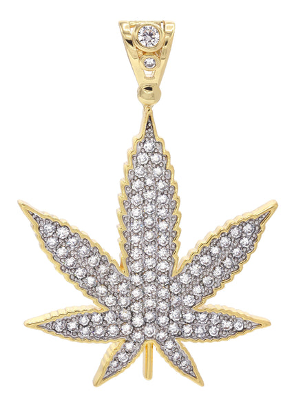 Mens Gold Plated Marijuana Leaf Pendant | 13.6 Grams