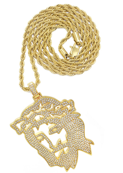 Mens Gold Plated Rope Chain & Jesus Piece Chain | Appx. 46.5 Grams