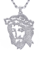 White Gold Plated Cuban Link Chain & Jesus Head Pendant | Appx. 46.5 Grams