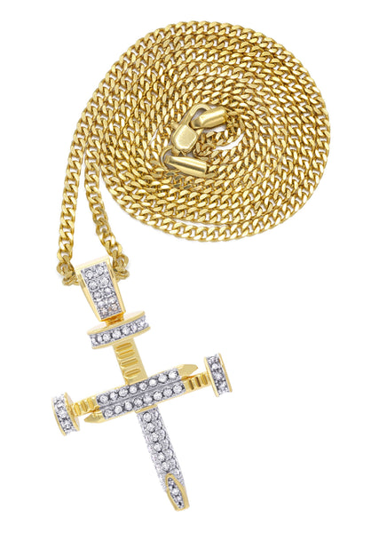Mens Gold Plated Cuban Link Chain & Cross Pendant | Appx. 15 Grams