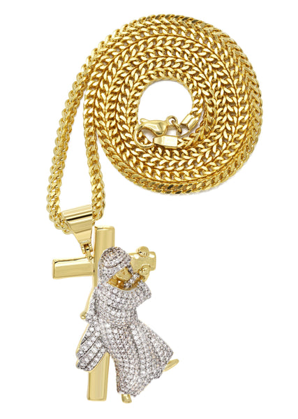 Mens Gold Plated Franco Chain & Cross Pendant | Appx. 14.4 Grams