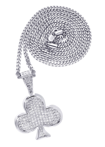 White Gold Plated Cuban Link Chain & Trebol Pendant | Appx. 18.8 Grams