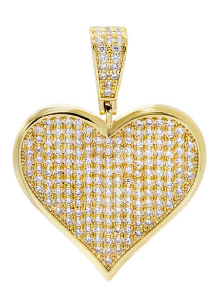 Mens Gold Plated Heart Pendant | 11.5 Grams