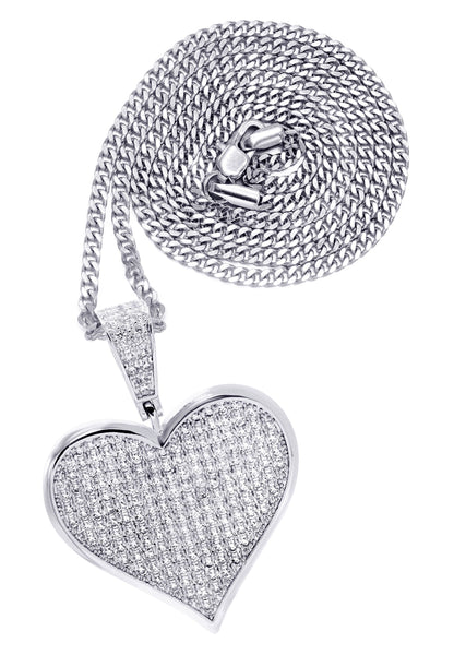 White Gold Plated Cuban Link Chain & Heart Pendant | Appx. 19.5 Grams