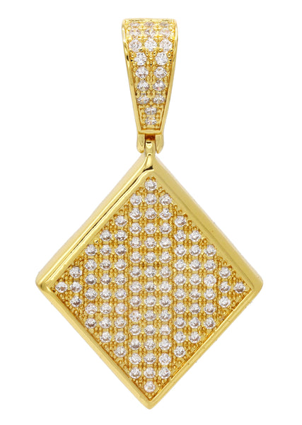 Mens Gold Plated Iced Out Pendant | 8.1 Grams