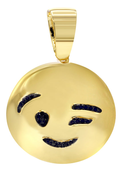 Mens Gold Plated Emoji Pendant | 6.3 Grams