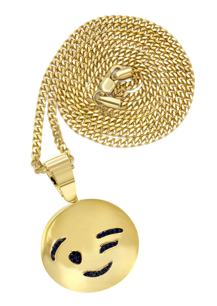 Mens Gold Plated Cuban Link Chain & Emoji Pendant | Appx. 14.3 Grams