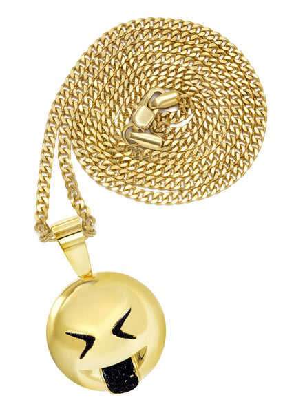 Mens Gold Plated Cuban Link Chain & Emoji Pendant | Appx. 16 Grams