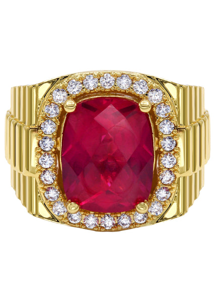 Mens Gold Plated Ruby Ring | 20 Grams