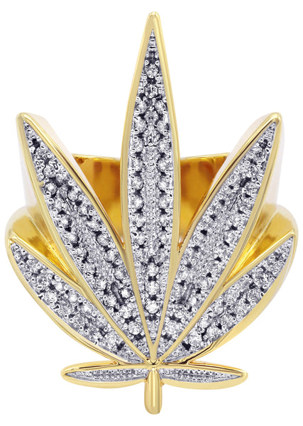 Gold Plated Marihuana Leaf Ring | 15 Grams
