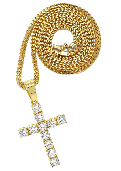 Mens Gold Plated Franco Chain & Cross Pendant | Appx. 13 Grams