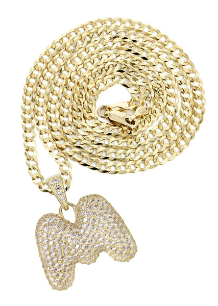 "10K Yellow Gold Cuban Chain & Bubble Letter ""M"" Cz Pendant 