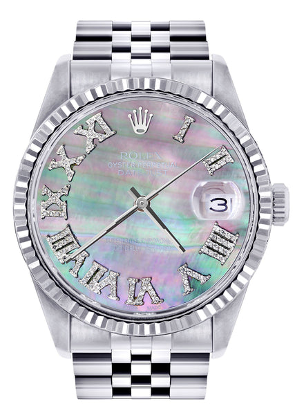 Mens Rolex Datejust Watch 16200  | 36Mm | Mother of Pearl Roman Numeral Dial | Jubilee Band