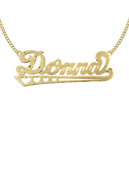 14K Ladies Diamond Cut Heart Name Plate Necklace | Appx. 7 Grams