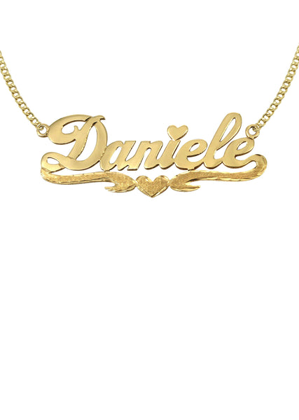 14K Ladies Diamond Cut Heart Name Plate Necklace | Appx. 7.9 Grams