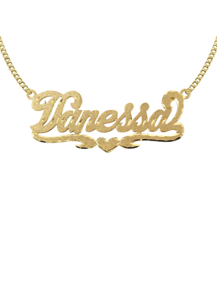 14K Ladies Diamond Cut Name Plate Necklace | Appx. 7 Grams