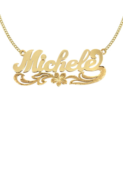 14K Ladies Diamond Cut Name Plate Necklace | Appx. 8.4 Grams