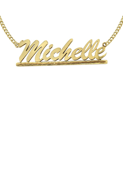 14K Ladies Diamond Cut Name Plate Necklace | Appx. 6.9 Grams