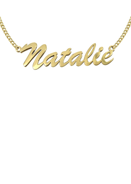 14K Ladies Plain Name Plate Necklace | Appx. 7 Grams