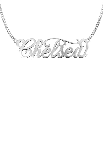 14K Ladies White Gold Name Plate Necklace | Appx. 8.6 Grams