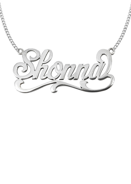 14K Ladies White Gold Name Plate Necklace | Appx. 7.6 Grams