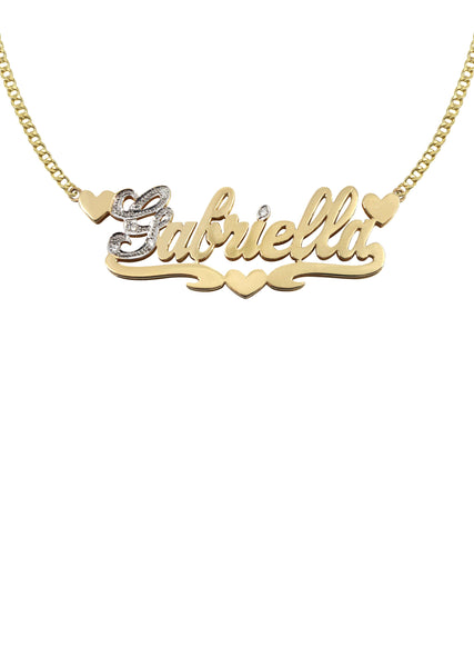 14K Ladies Two Tone  Name Plate Necklace | Appx. 9.8 Grams