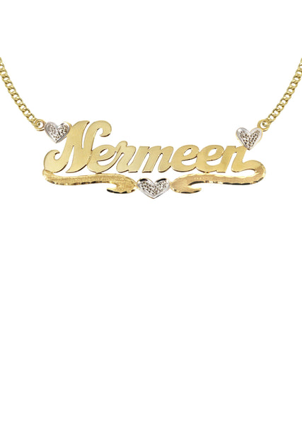 14K Ladies Two Tone Hearts Name Plate Necklace | Appx. 7.8 Grams