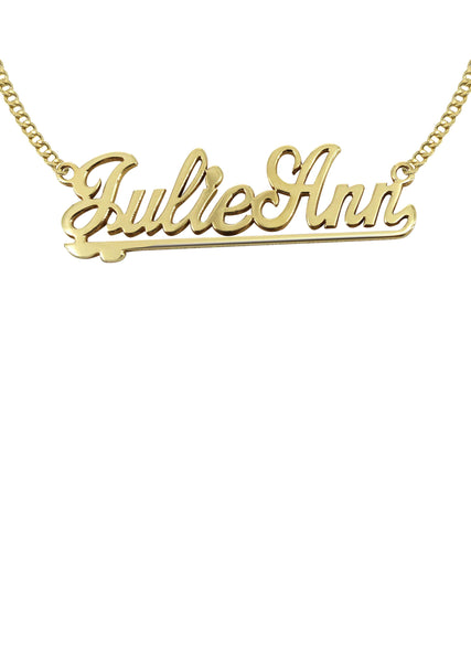 14K Ladies Two Name Name Plate Necklace | Appx. 7.5 Grams