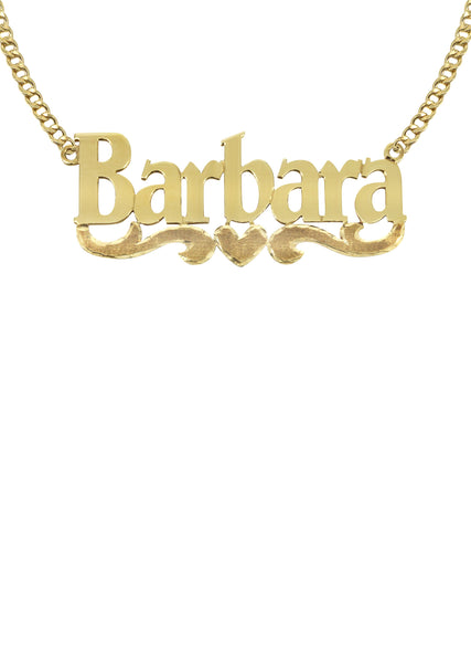 14K Ladies Diamond Cut Name Plate Necklace | Appx. 7.5 Grams