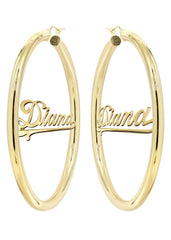 14K Ladies Plain Gold Name Plate Hoop Earrings