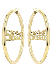 14K Ladies Name Diamond Cut Name Plate Hoop Earrings