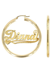 14K Ladies Plain Name Plate Hoop Earrings