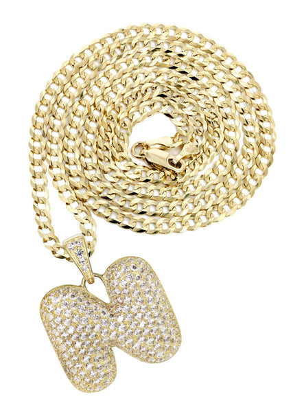 "10K Yellow Gold Cuban Chain & Bubble Letter ""N"" Cz Pendant 