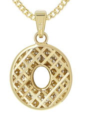 "10K Yellow Gold Rope Chain & Bubble Letter ""O"" Cz Pendant 