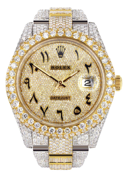 Diamond Iced Out Rolex Datejust 41 | 25 Carats Of Diamonds | Custom Full Diamond Arabic Dial | Oyster Band